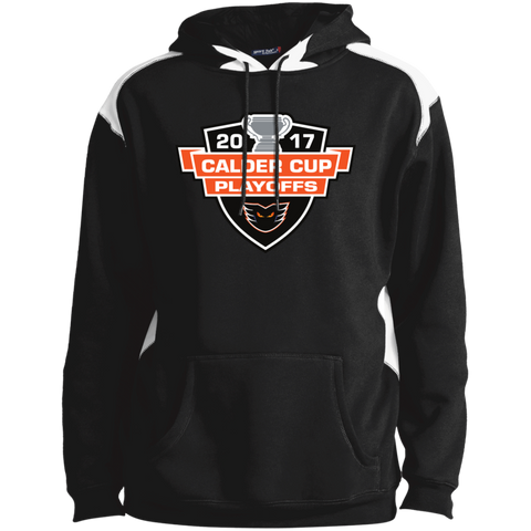 Lehigh Valley Phantoms Adult 2017 Calder Cup Playoffs Printed Shoulder Colorblock Pullover Hoodie