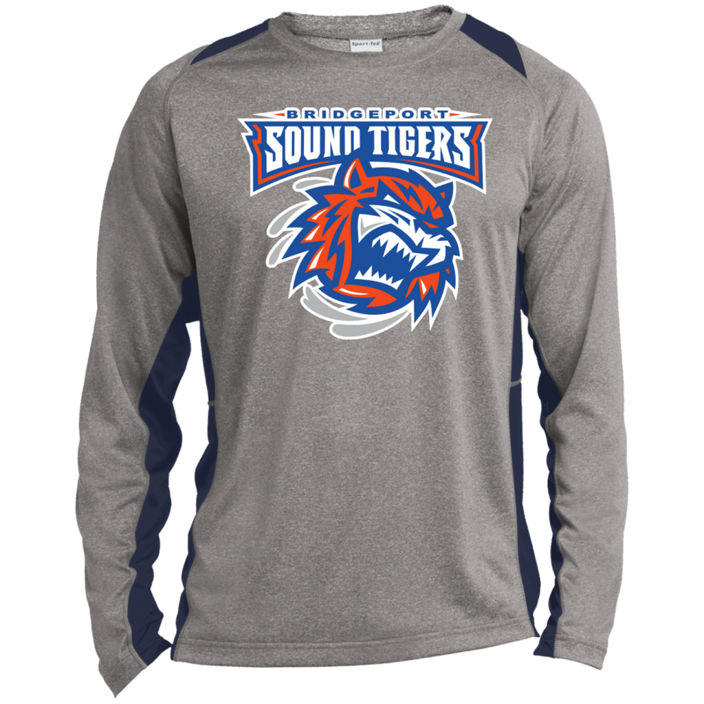 Bridgeport Sound Tigers Long Sleeve Heather Colorblock Poly T-shirt (sidewalk sale)