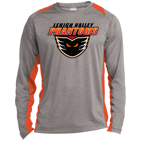 Lehigh Valley Phantoms Adult Long Sleeve Heather Colorblock Poly T-Shirt (sidewalk sale)