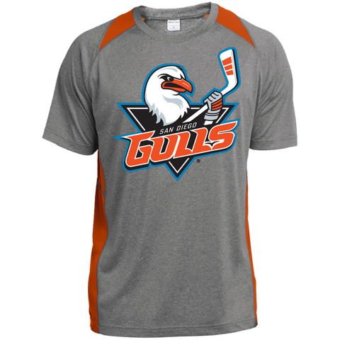 San Diego Gulls Primary Logo Adult Heather Colorblock Poly T-Shirt