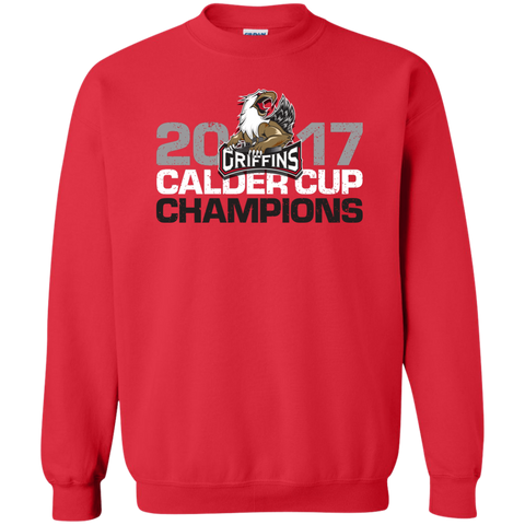 Grand Rapids Griffins 2017 Calder Cup Champions Adult Distressed Crewneck Pullover Sweatshirt (red)