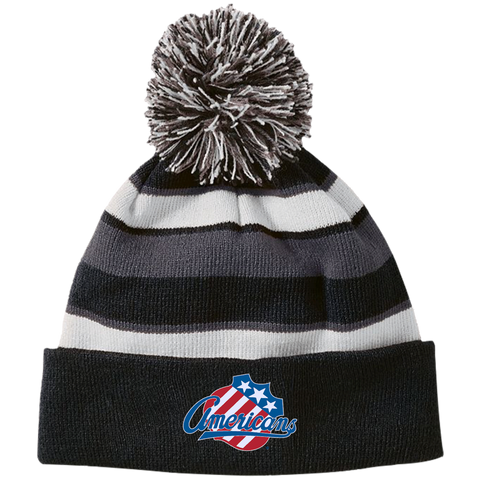 Rochester Americans Striped Beanie with Pom