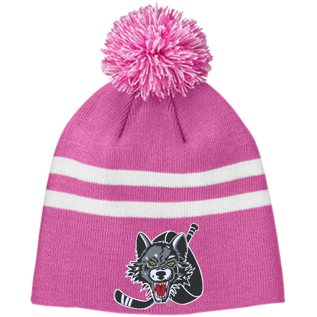 Chicago Wolves Team 365 Striped Pom Beanie