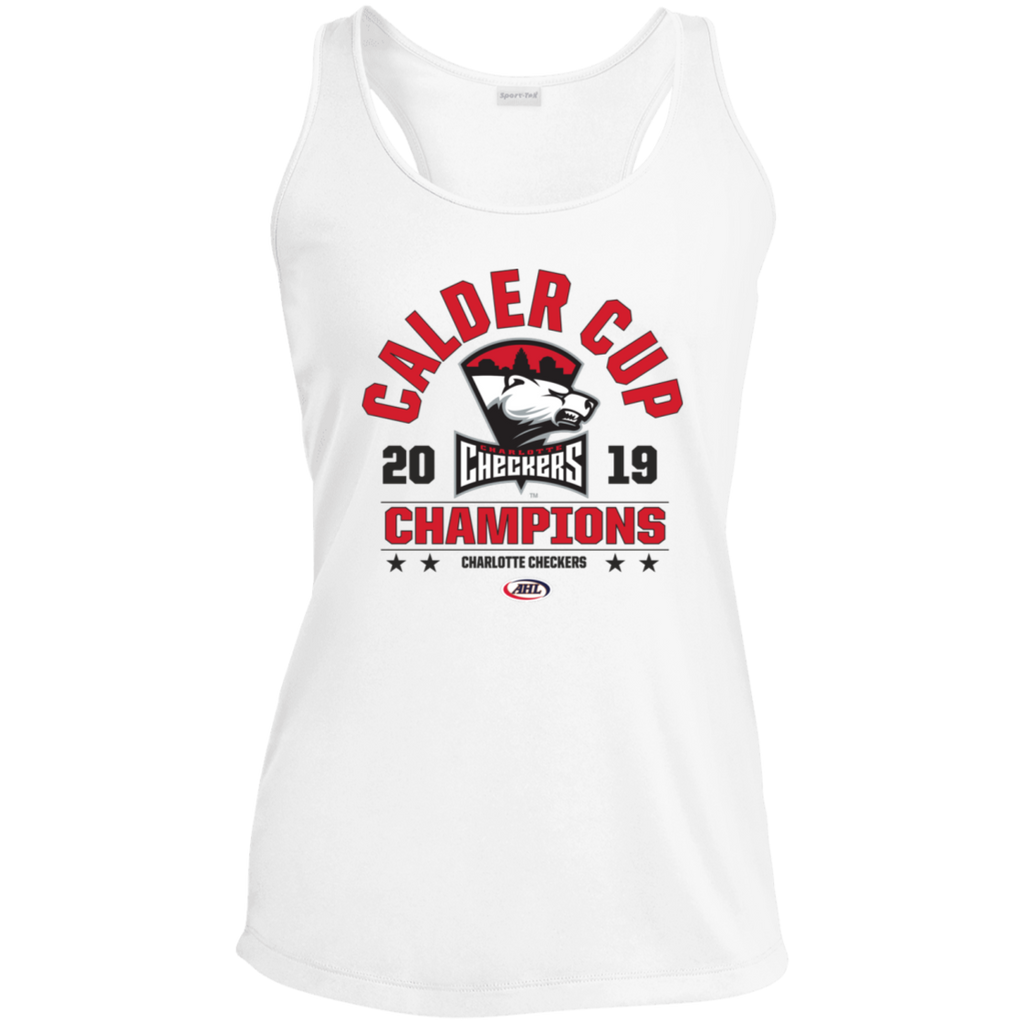 Charlotte Checkers 2019 Calder Cup Champions Ladies' Arch Racerback Moisture Wicking Tank