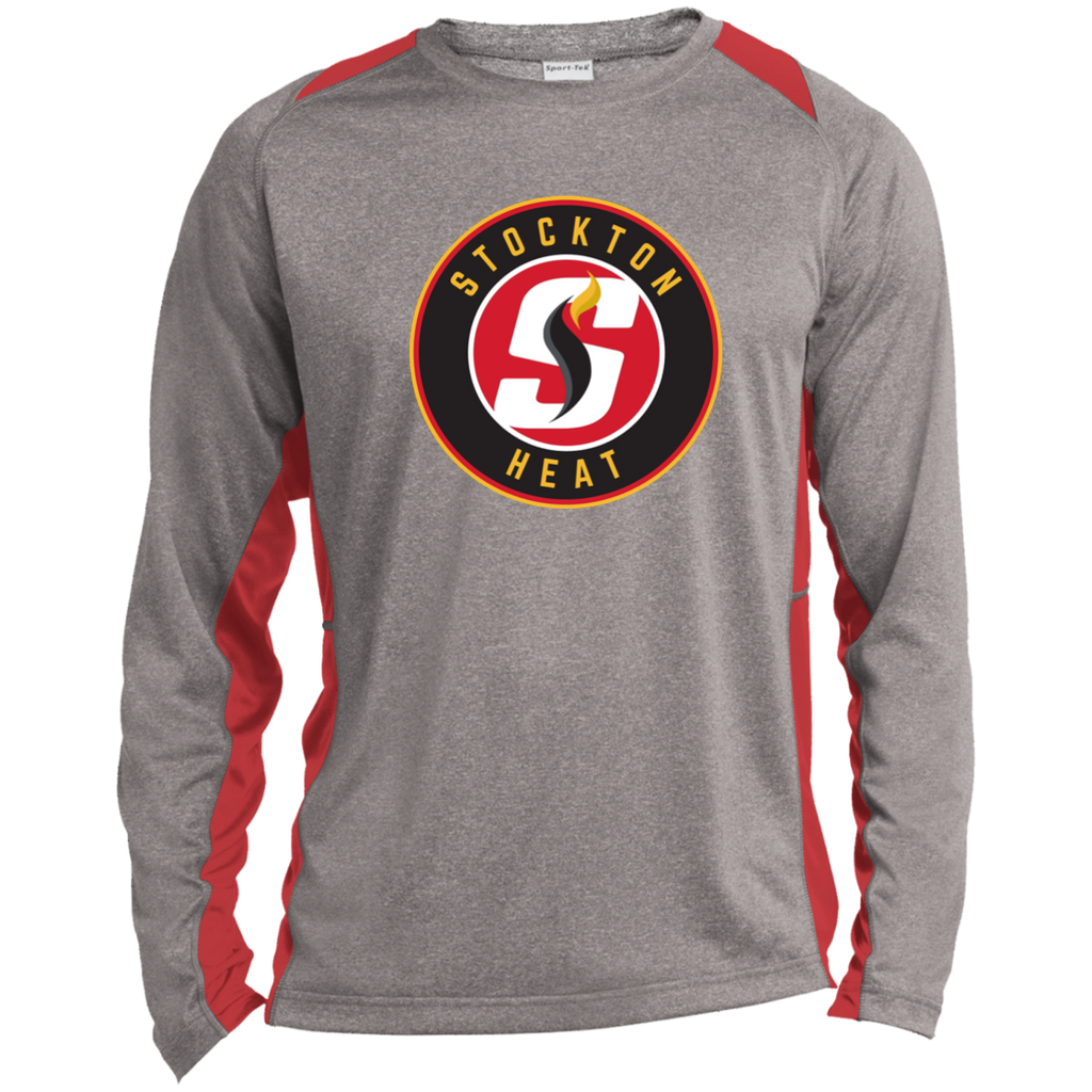 Stockton Heat Adult Long Sleeve Heather Colorblock Poly T-Shirt