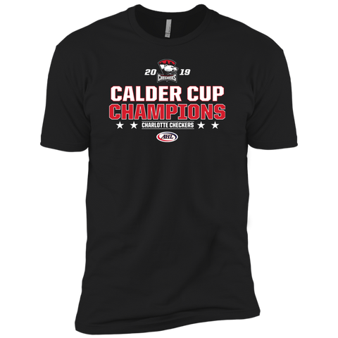 Charlotte Checkers 2019 Calder Cup Champions Adult Stacked Next Level Premium Short Sleeve T-Shirt