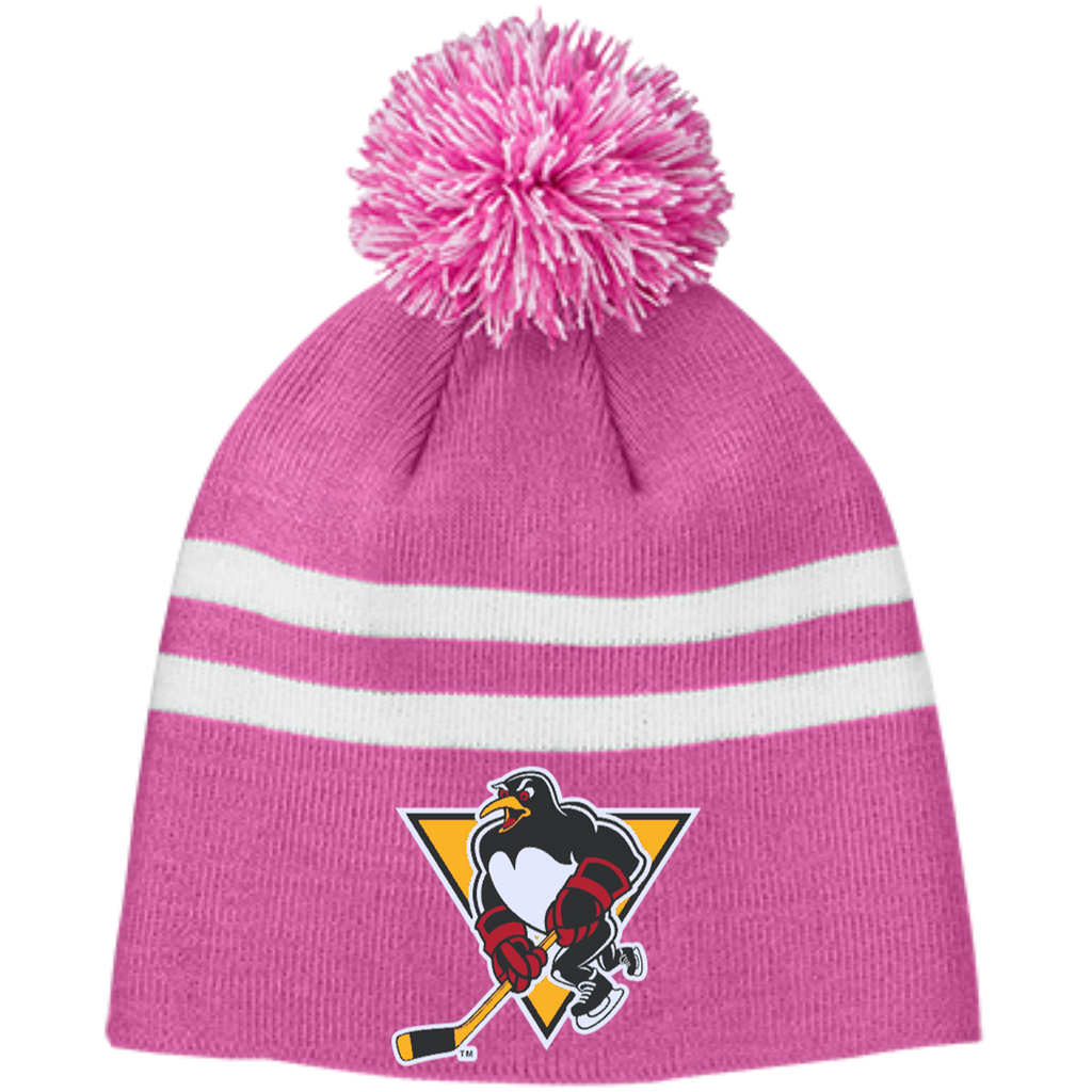 Wilkes-Barre/Scranton Penguins Team 365 Striped Pom Beanie