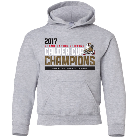 Grand Rapids Griffins 2017 Calder Cup Champions Athletic Youth Pullover Hoodie