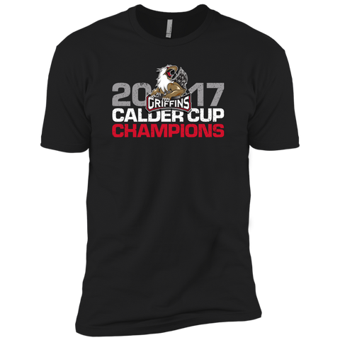 Grand Rapids Griffins 2017 Calder Cup Champions Distressed Next Level Premium Short Sleeve T-Shirt (black)