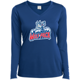 Hartford Wolf Pack Primary Logo Ladies Long Sleeve Performance Vneck T-Shirt