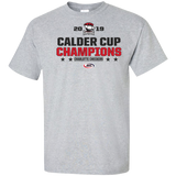 Charlotte Checkers 2019 Calder Cup Champions Adult Stacked Tall Cotton T-Shirt