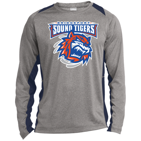 Bridgeport Sound Tigers Long Sleeve Heather Colorblock Poly T-shirt