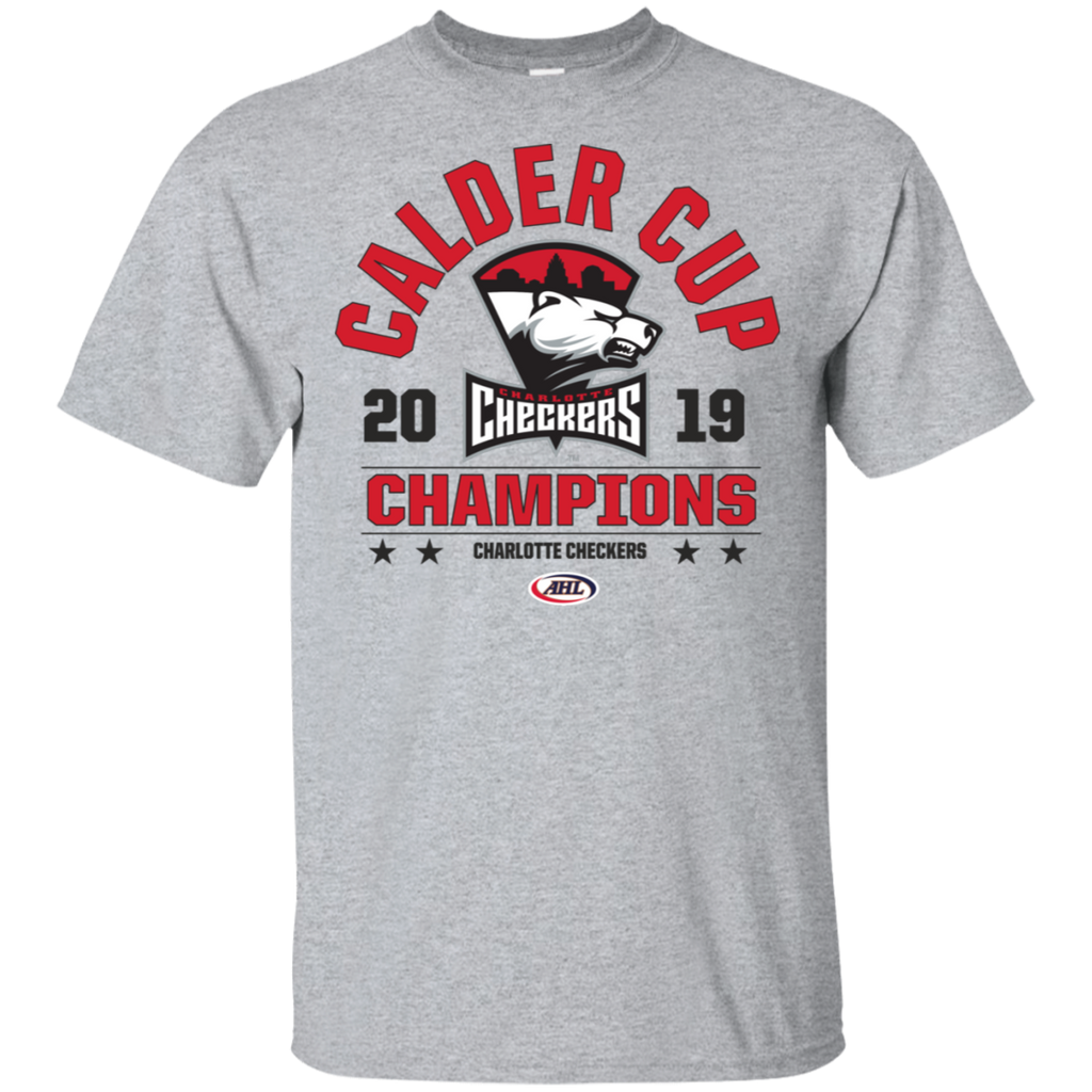 Charlotte Checkers 2019 Calder Cup Champions Adult Arch Short Sleeve Cotton T-Shirt