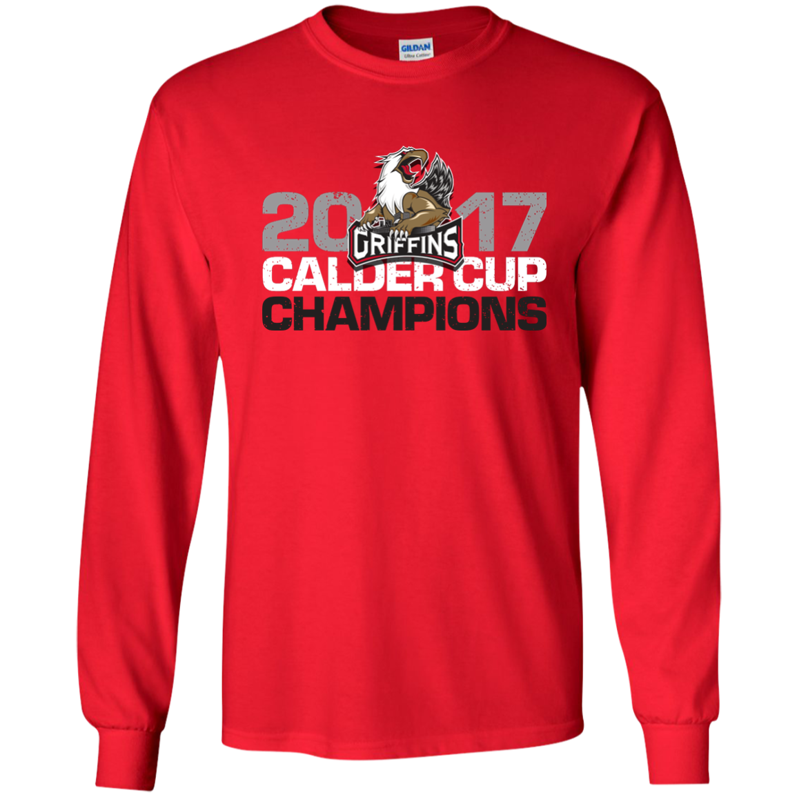 Grand Rapids Griffins 2017 Calder Cup Champions Youth Long Sleeve Distressed T Shirt