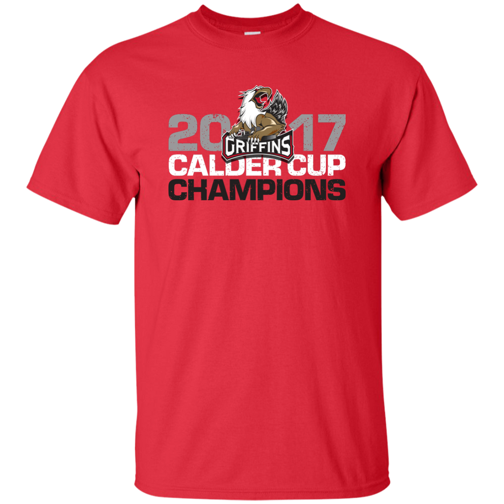 Grand Rapids Griffins 2017 Calder Cup Champions Distressed Adult Short Sleeve T-Shirt (red)