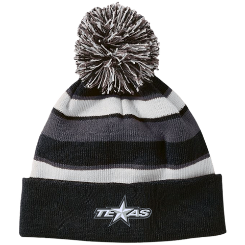 Texas Star Striped Beanie with Pom