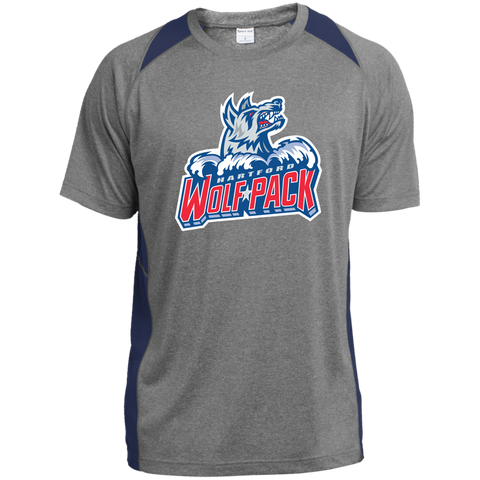 Hartford Wolf Pack Primary Logo Adult Heather Colorblock Poly T-Shirt (Sidewalk Sale)