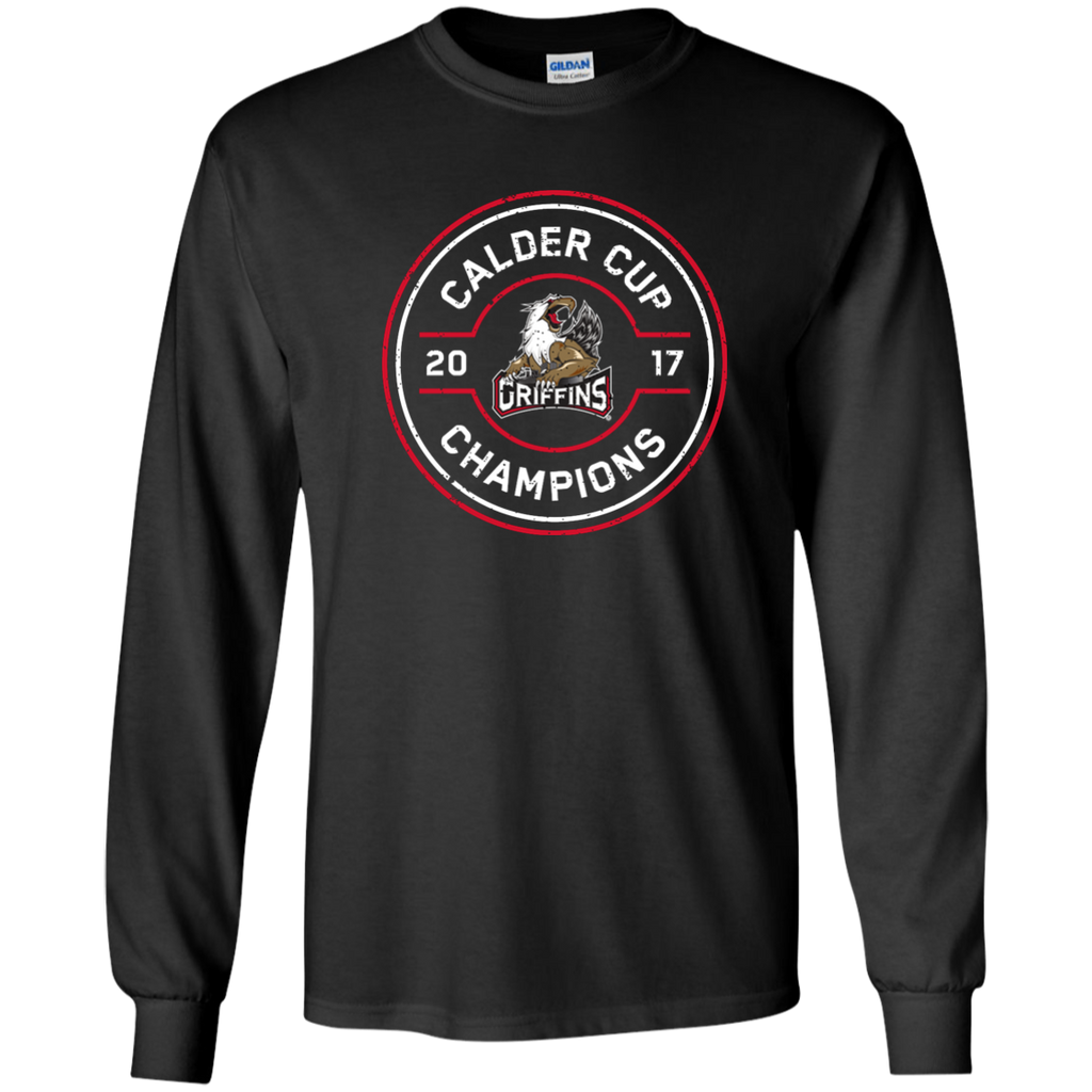 Grand Rapids Griffins 2017 Calder Cup Champions Adult Faceoff Long Sleeve T-Shirt (black)