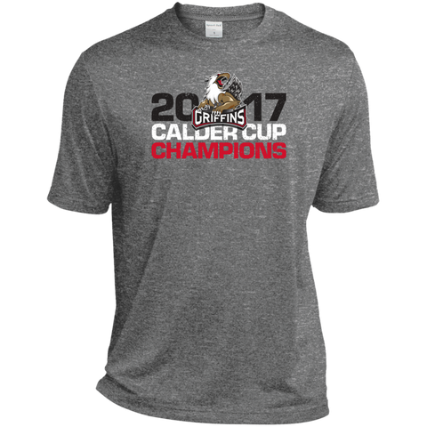 Grand Rapids Griffins 2017 Calder Cup Champions Distressed Adult Heather Dri-Fit Moisture-Wicking T-Shirt