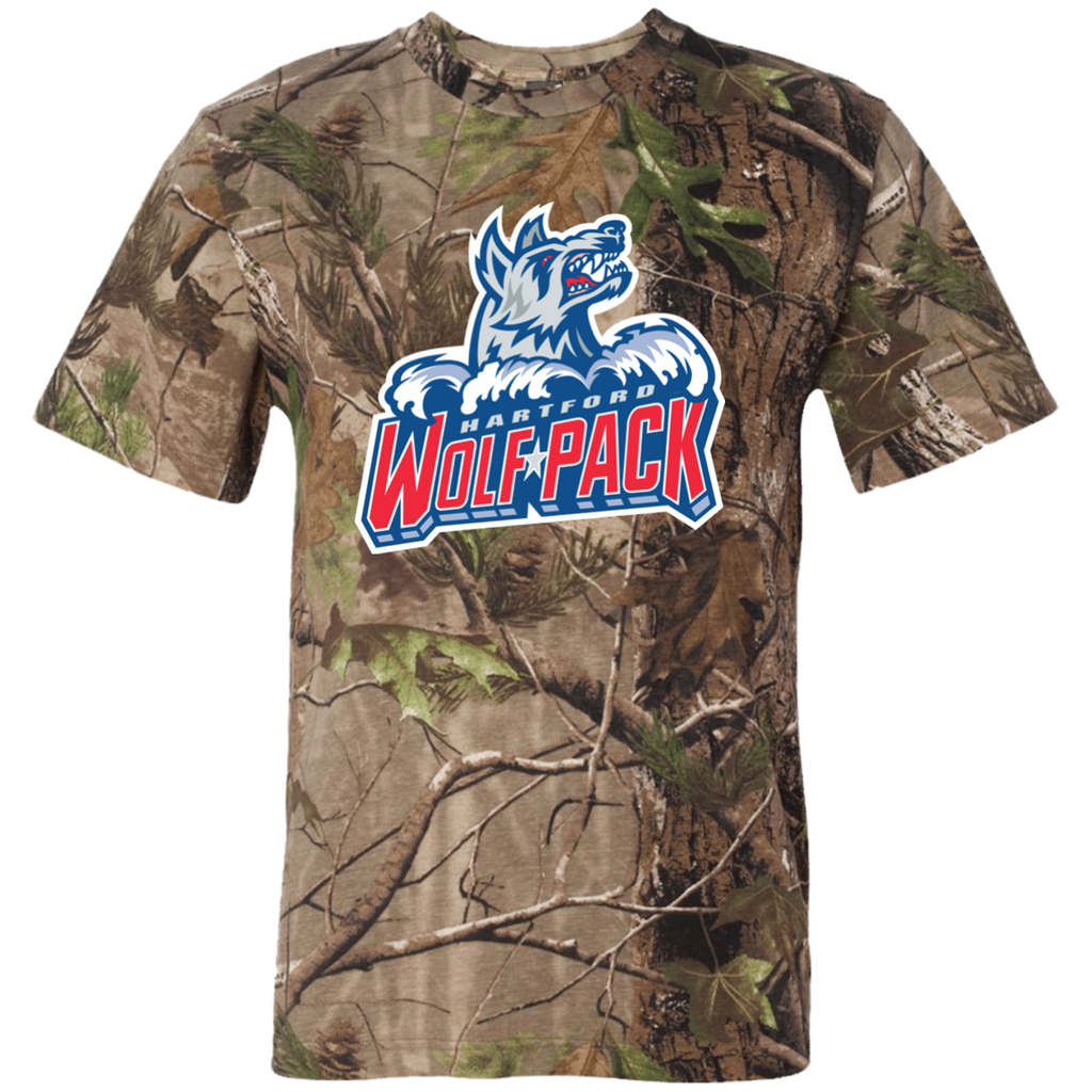Hartford Wolf Pack Primary Logo Adult Short Sleeve Camouflage T-Shirt
