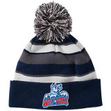 Hartford Wolf Pack Striped Beanie with Pom