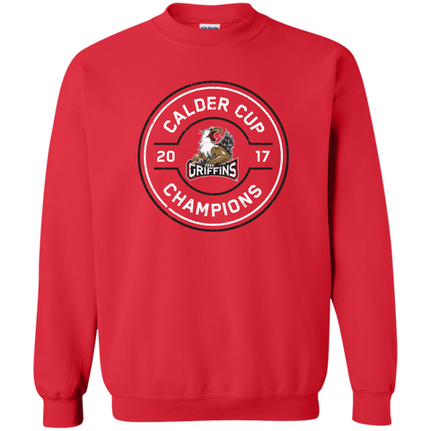 Grand Rapids Griffins 2017 Calder Cup Champions Faceoff Adult Crewneck Pullover Sweatshirt (red)