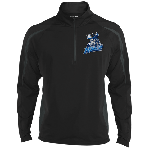 Manitoba Moose Men's Sport Wicking Colorblock 1/2 Zip