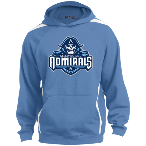 Milwaukee Admirals Primary Logo Adult Sleeve Stripe Sweatshirt with Jersey Lined Hood