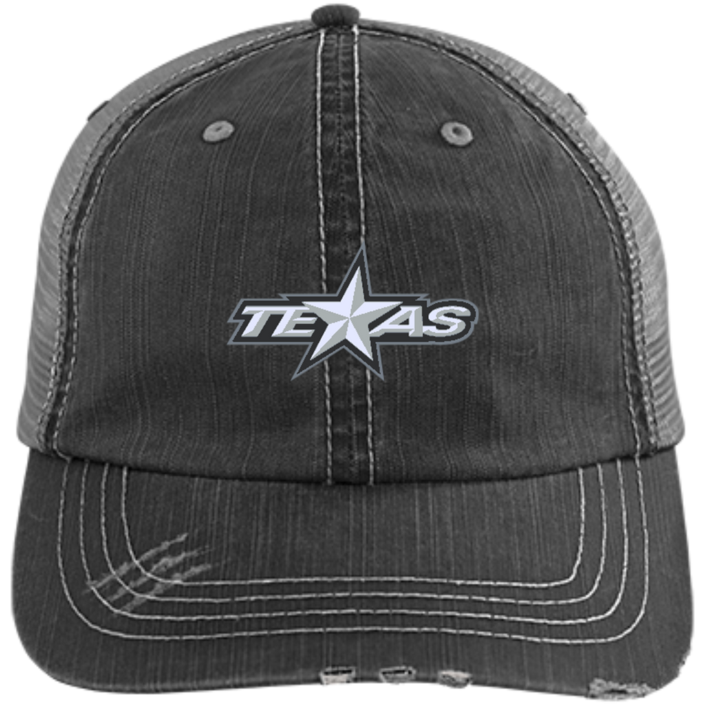 Texas Stars Distressed Unstructured Trucker Cap