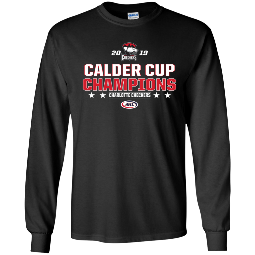 Charlotte Checkers 2019 Calder Cup Champions Youth Stacked Long Sleeve T-Shirt