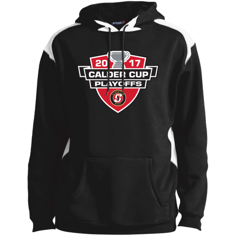 Stockton Heat Adult 2017 Calder Cup Playoffs Shoulder Colorblock Pullover Hoodie
