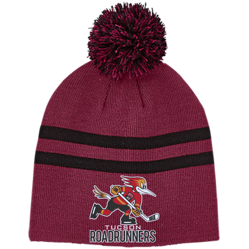 Tucson Roadrunners Team 365 Striped Pom Beanie