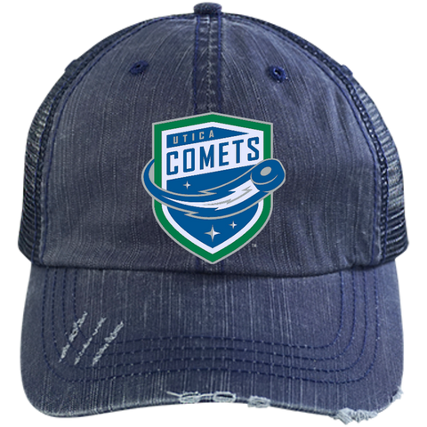 Utica Comets Distressed Unstructured Trucker Cap