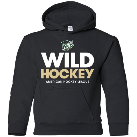 Iowa Wild Hockey Logo Youth Pullover Hoodie (Sidewalk Sale)