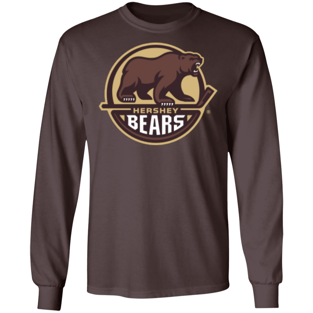 Hershey Bears Primary Logo Adult Long Sleeve Cotton T-Shirt