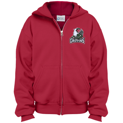 Grand Rapids Griffins Primary Logo Youth Embroidered Full Zip Hoodie