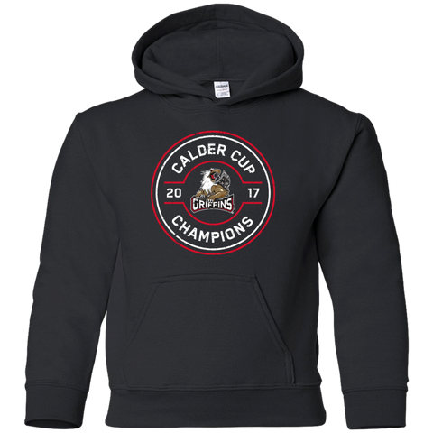 Grand Rapids Griffins 2017 Calder Cup Champions Faceoff Youth Pullover Hoodie (black sidewalk sale)