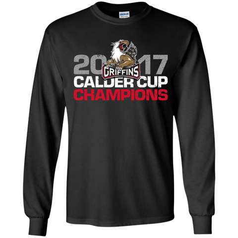 Grand Rapids Griffins 2017 Calder Cup Champions Distressed Youth Long Sleeve T-Shirt