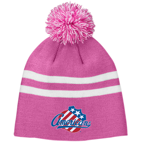 Rochester Americans Team 365 Striped Pom Beanie