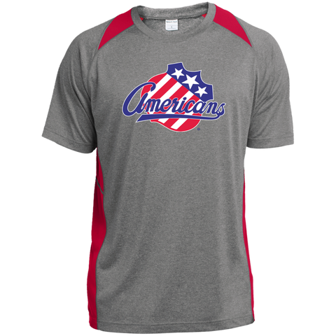 Rochester Americans Adult Heather Colorblock Poly T-Shirt