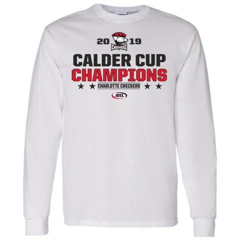 Charlotte Checkers 2019 Calder Cup Champions Adult Stacked Long Sleeve T-Shirt