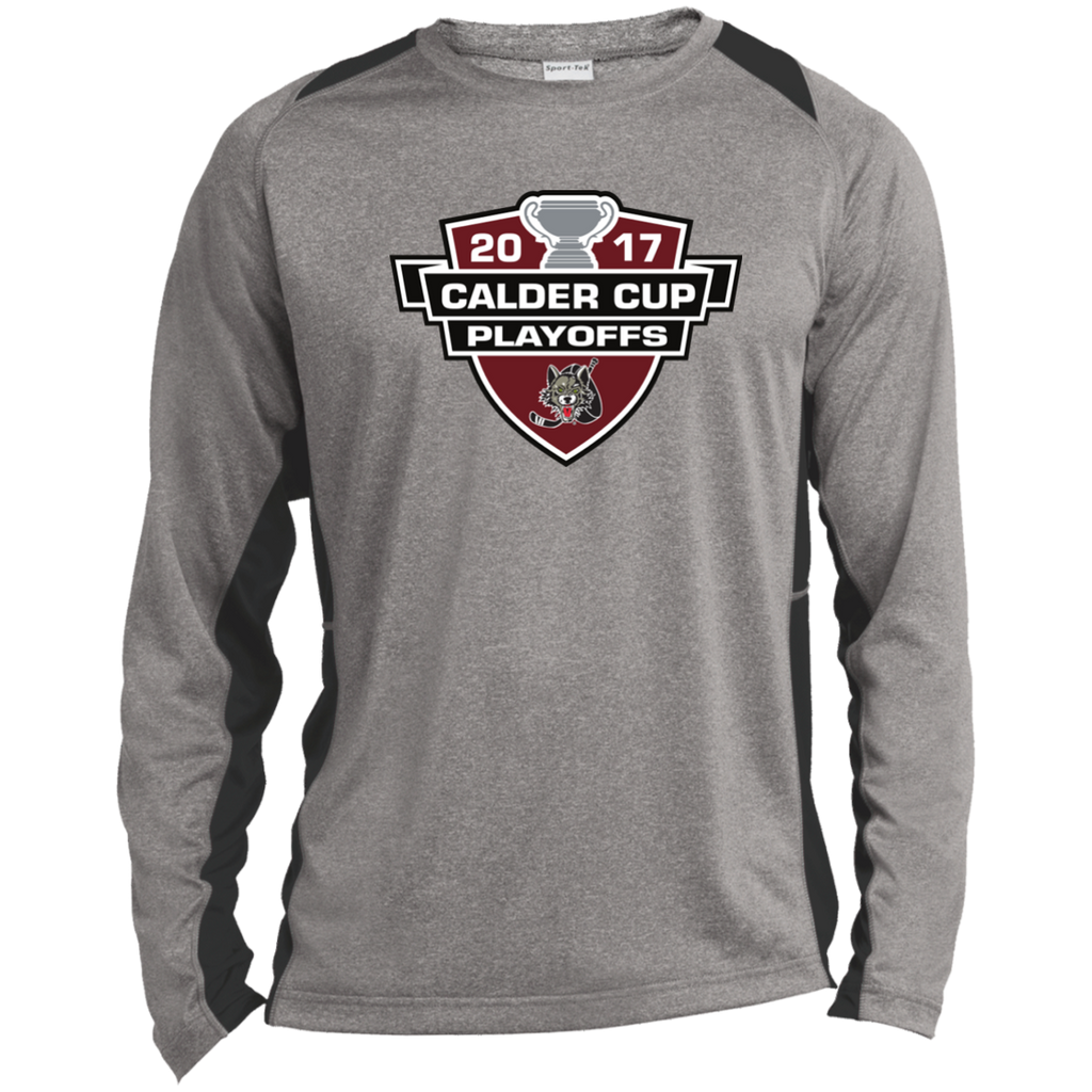 Chicago Wolves Adult 2017 Calder Cup Playoffs Long Sleeve Heather Colorblock Poly T-Shirt