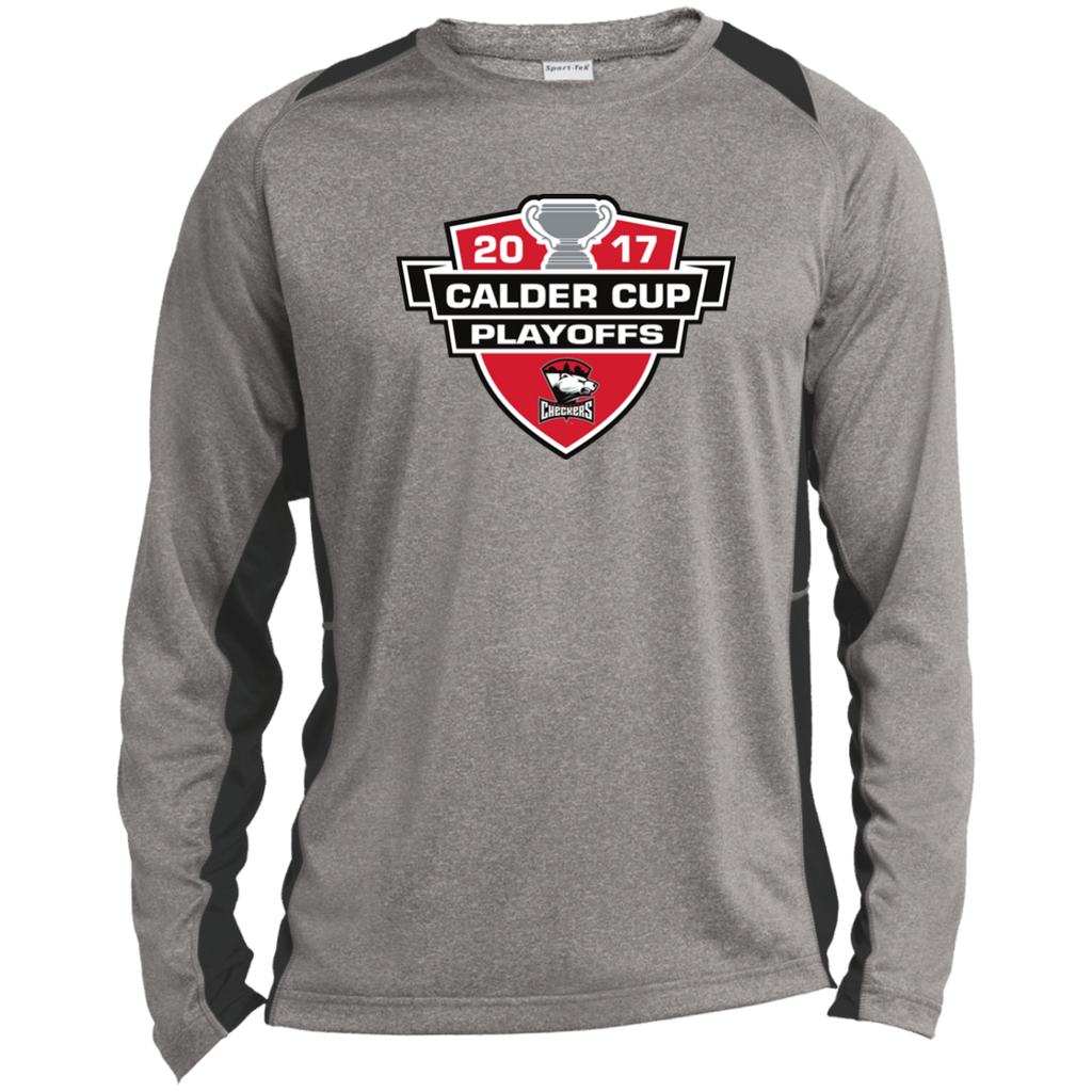 Charlotte Checkers Adult 2017 Calder Cup Playoffs Long Sleeve Heather Colorblock Poly T-Shirt