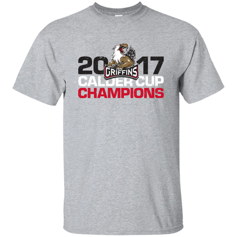 Grand Rapids Griffins 2017 Calder Cup Champions Distressed Adult Short Sleeve T-Shirt