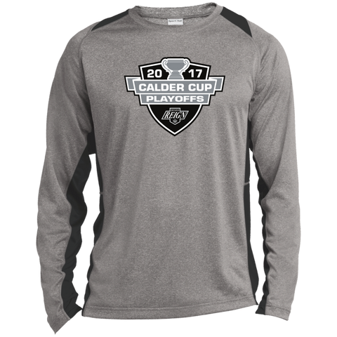 Ontario Reign Adult 2017 Calder Cup Playoffs Long Sleeve Heather Colorblock Poly T-Shirt