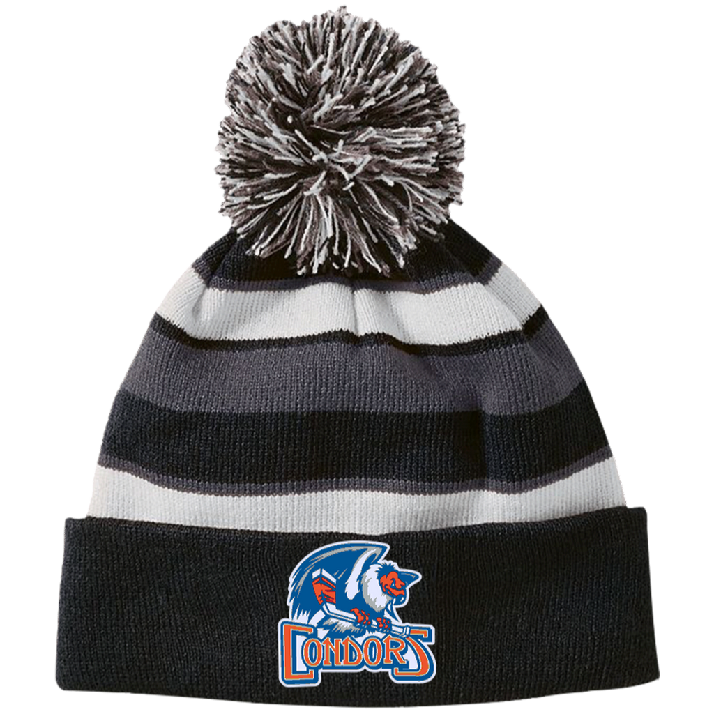 Bakersfield Condors Striped Beanie with Pom