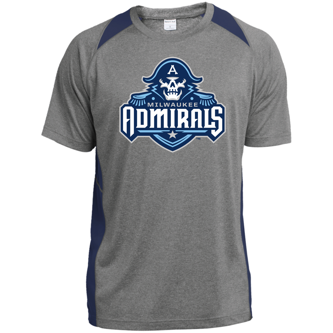 Milwaukee Admirals Printed Heather Colorblock Poly T Shirt