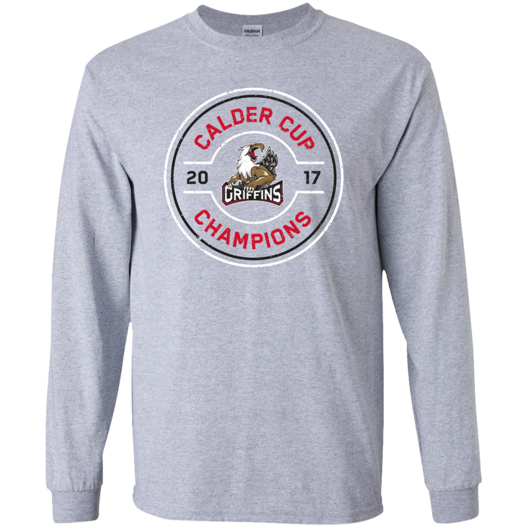 Grand Rapids Griffins 2017 Calder Cup Champions Adult Faceoff Long Sleeve T-Shirt
