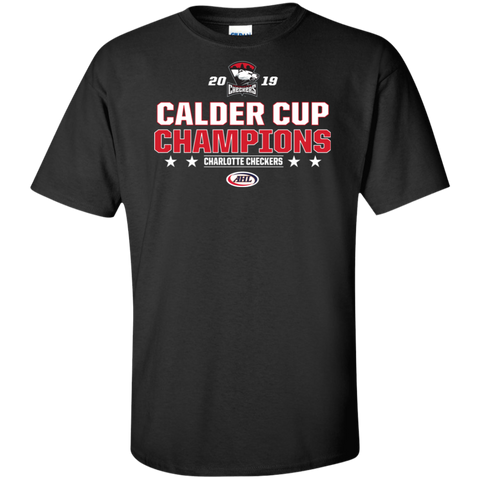 Charlotte Checkers 2019 Calder Cup Champions Adult Stacked Tall T-Shirt