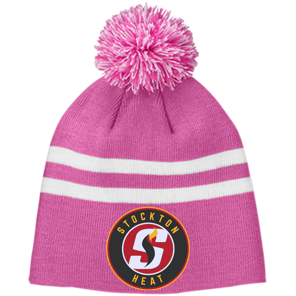Stockton Heat Team 365 Striped Pom Beanie